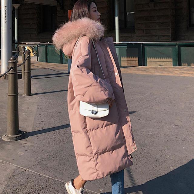 Długa kurtka zimowa kobiety Parka luźne ciepłe grube dół bawełna płaszcz kobiet wyściełane Oversize Student z kapturem kobieta kurtka zimowa Q2028