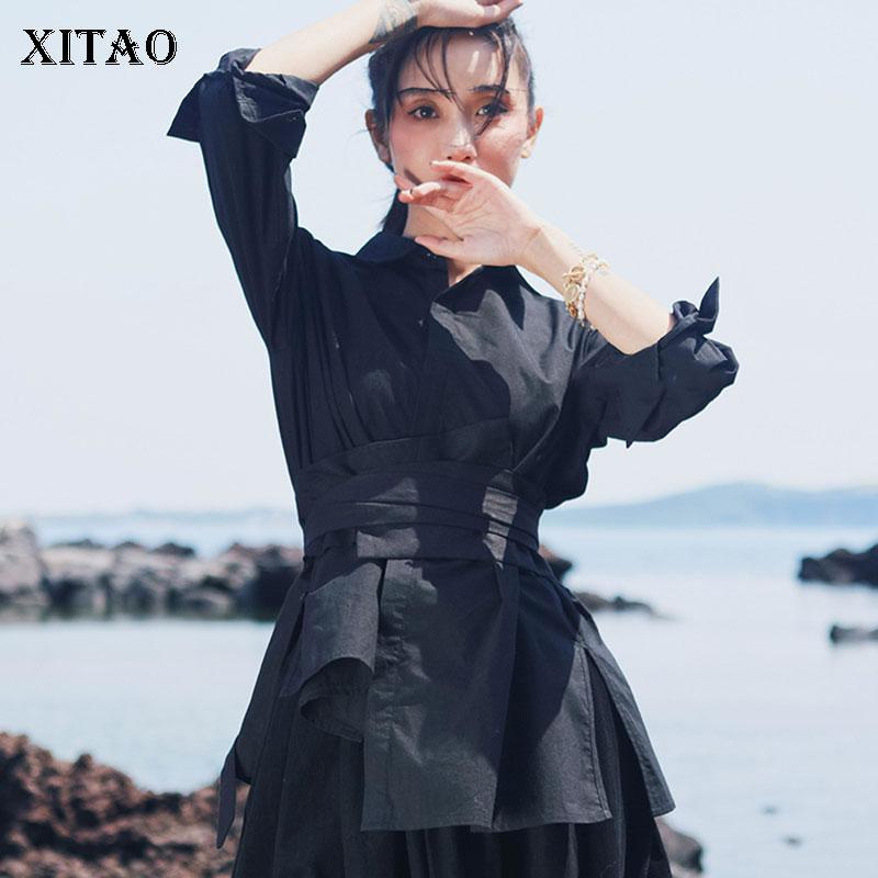 XITAO Vintage Black Cummerbunds Long  Autumn Elegant Small Fresh Casual Bow Design Minority Bandage Fashion Cummerbunds GCC2099