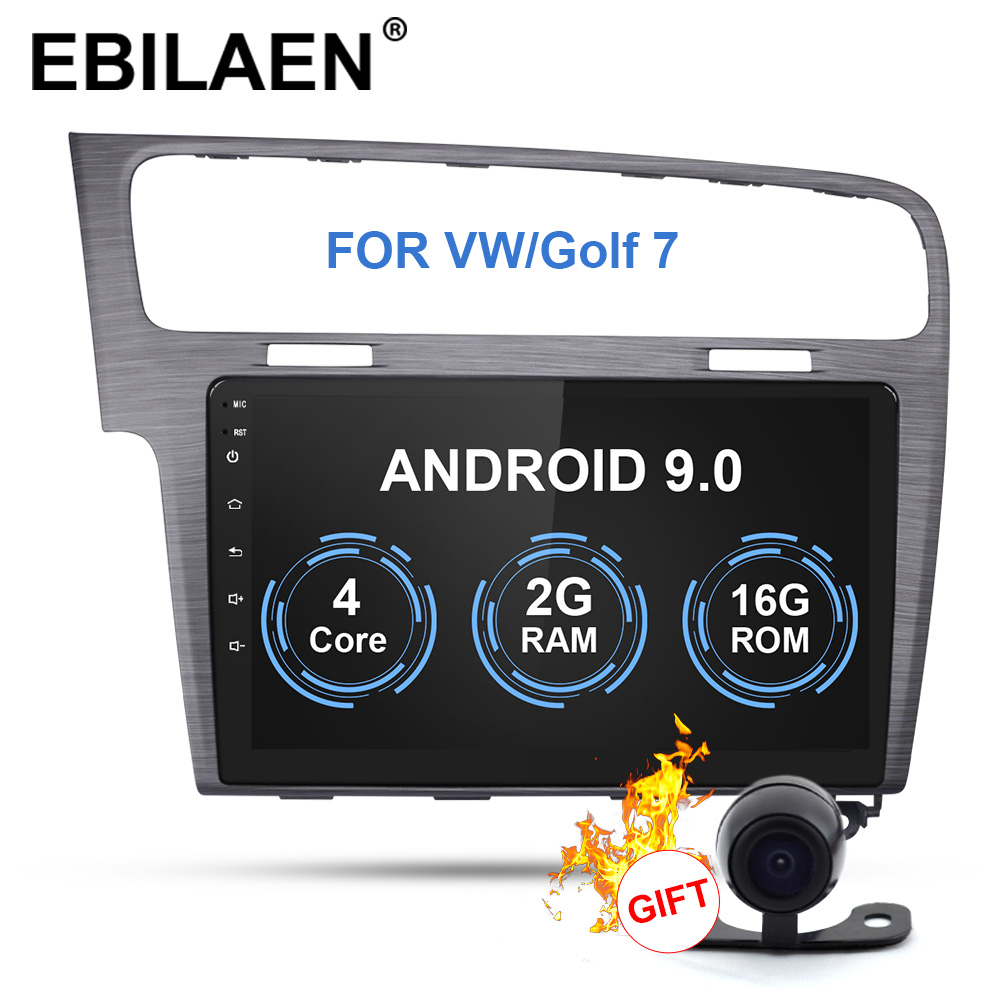 EBILAEN Car Radio Multimedia Player For VW Volkswagen Golf <font><b>7</b></font> <font><b>2Din</b></font> Android 9.0 Autoradio GPS Navigation Tape Recorder Head Unit image