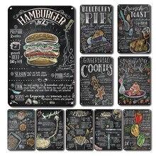 Carteles delicados de cocina, decoración de pared con placa de Metal, arte de cocina, restaurante, café, póster de Metal Retro
