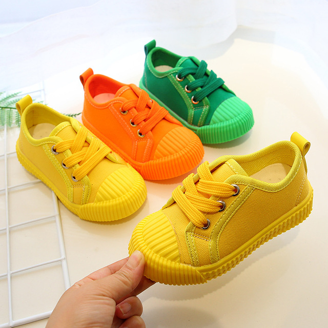 years canvas sneakers in yellow, orange