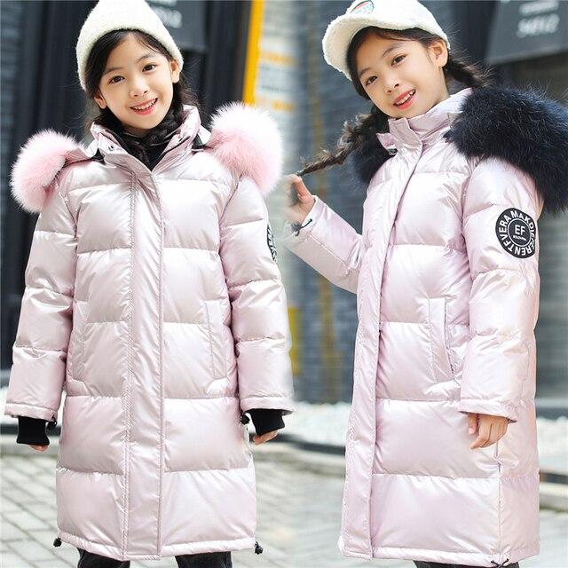 -30 Degrees Russian Winter Snowsuit 2019 Boys Girls Duck Down Jacket Waterproof Hooded Coat Teenager Kids Fur Collar Parka 8