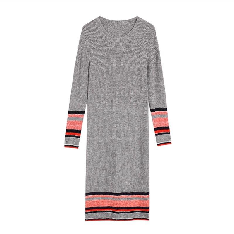 2019 nouveau hiver automne femmes longue robe à manches longues tricot français doux vent chandail Atginning enfant robes gris 3064