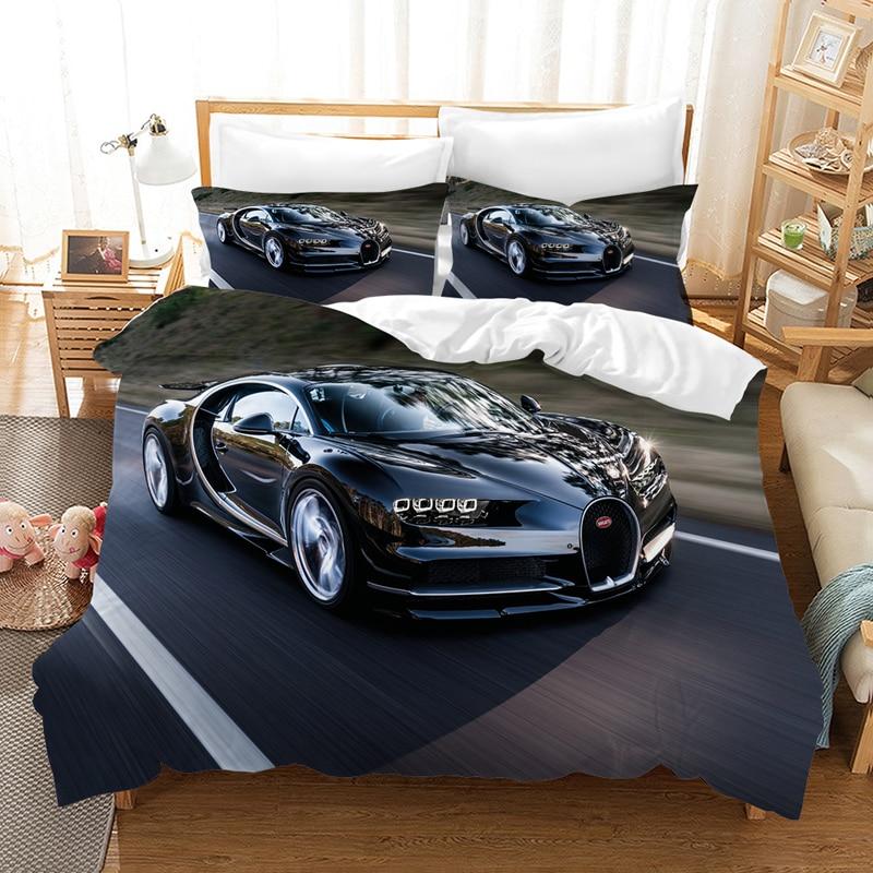 3D Motor Racing Car Quilt Cover Bedding Set Motorcycle Duvet Cover Pillow Case