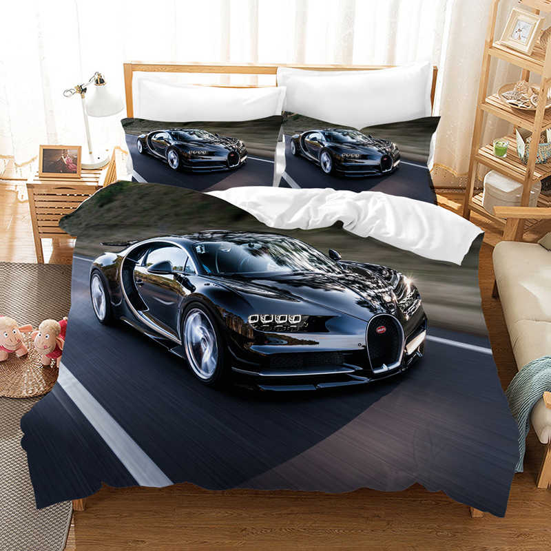 Luxury Supercar 3D Bedding Set Duvet Covers Bed Linen Bugatti Racing Car Comforter Bedding Sets Bedclothes Bed Linens (NO Sheet)