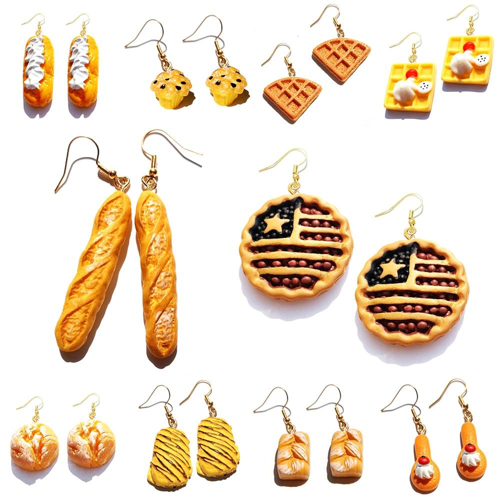Earring For Women Resin Drop Custom Made Cute Girls Eardrop Funny Bread Baguette Pie Cookies Gift Handmade