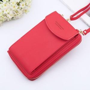 2020 Women Wallet Solid Color Leather Shoulder Straps Shoulder Bag Mobile Phone Big Card Holders Wallet Handbag Pockets girls(China)