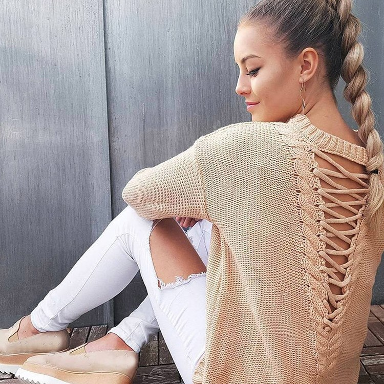 Nice Autumn Fashion Women Lace Up Knitting Pullover Sexy Bandage Backless Sweaters Casual Long Sleeve Hollow Out Jumpers