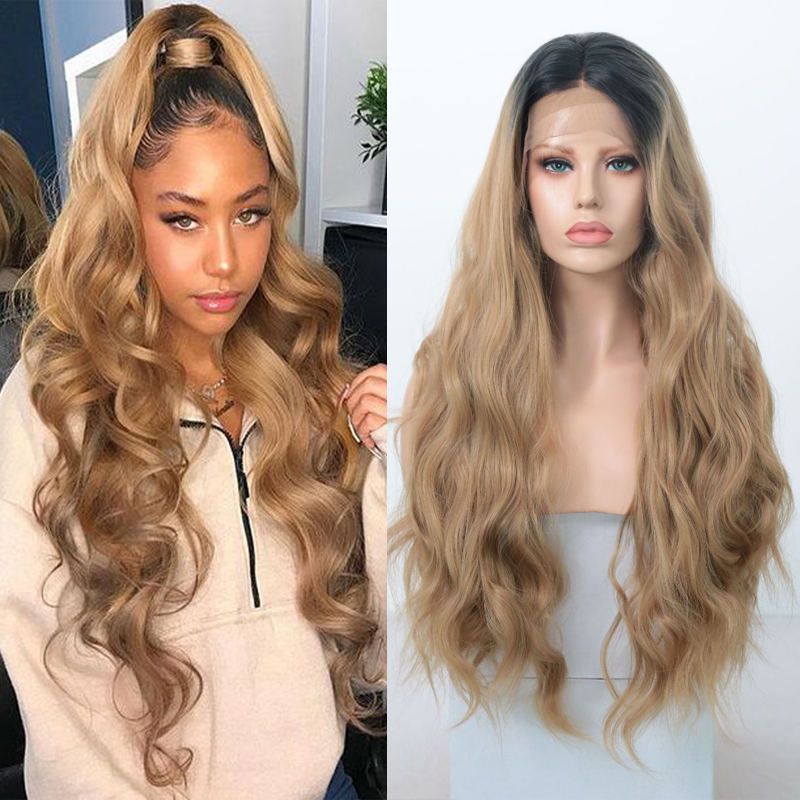 RONGDUOYI Long Two Tone Color Body Wave Wig Synthetic Lace Front Wigs For Women Ombre Brown High Temperature Fiber Hair Lace Wig