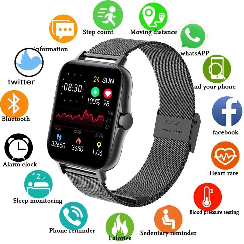 Смарт-часы ZW23 для мужчин и женщин, водонепроницаемые фитнес-трекер с поддержкой Bluetooth, с функцией контроля музыки и измерения температуры те...
