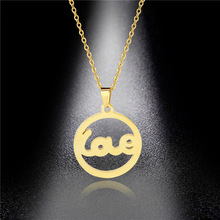 Fashionable Simple Stainless Steel Necklace LOVE Alphabet Female Clavicle Chain Creative Accessories Titanium Steel Pendant