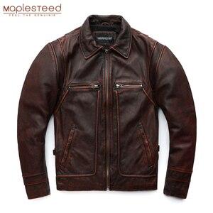 Image 2 - MAPLESTEED marka Amekaji silnika w motocyklowym stylu mężczyzn skórzana kurtka czarny czerwony brązowy skóry wołowej kurtki Vintage mężczyźni płaszcz zimowy 5XL M100
