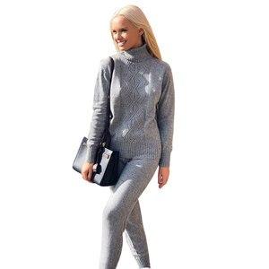 Image 2 - MVGIRLRU yumuşak yün örme takım elbise sonbahar kış kadın eşofman büküm örgü balıkçı yaka kazak pantolon iki parçalı setleri artı boyutu