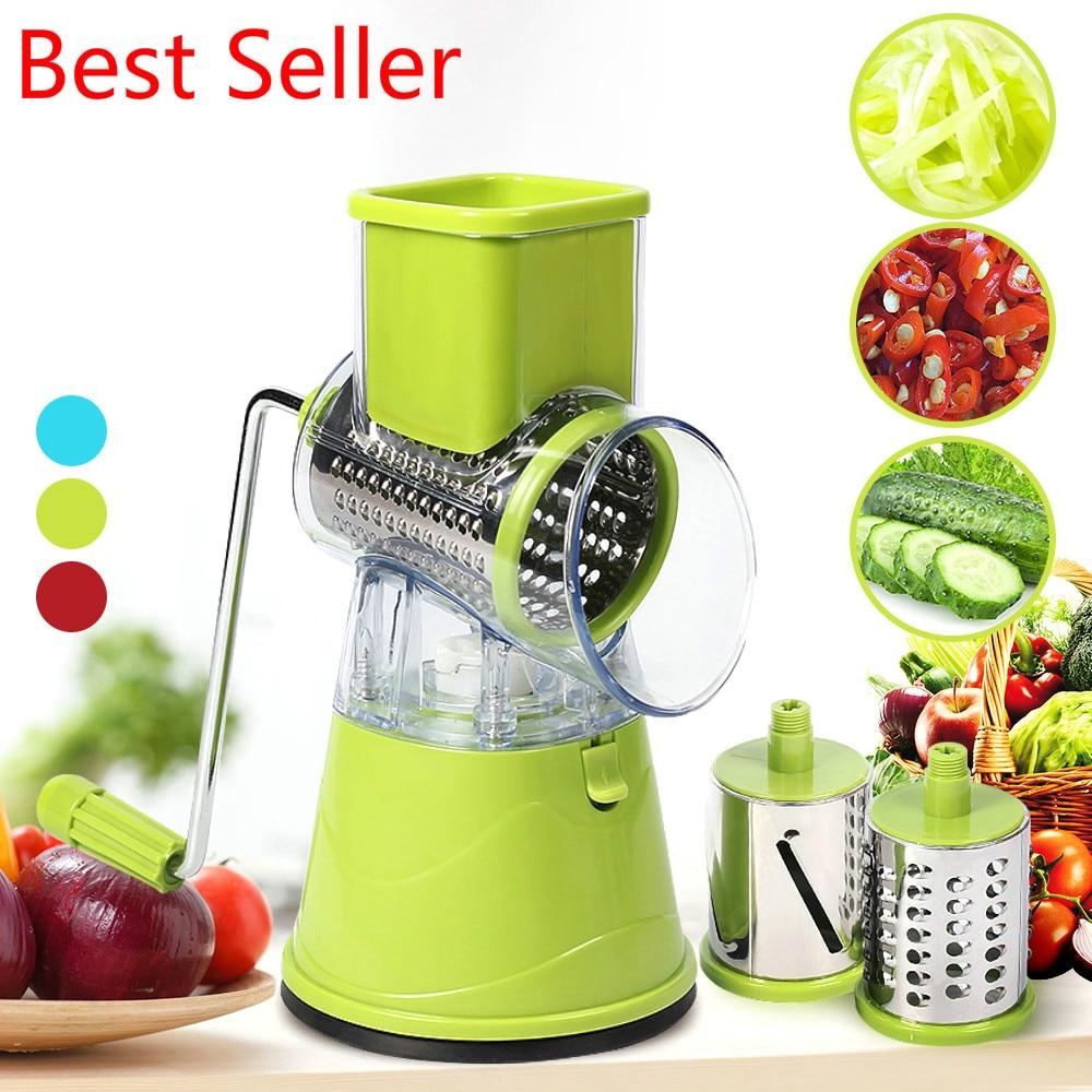 Manual Vegetable Potato Roller Cutter Stainless Steel Blade Kitchen Slicer Roller Cutting Machine Handheld Food Processor New