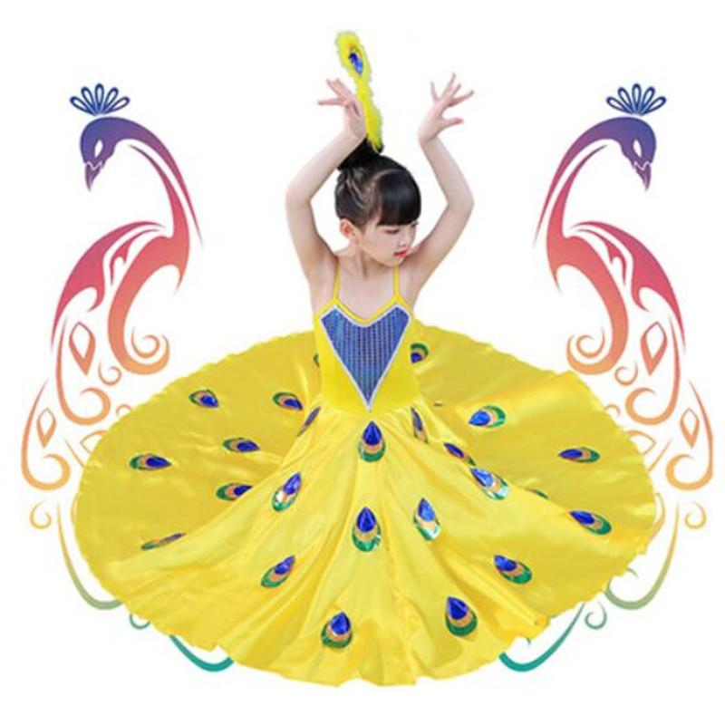 3 Colors White Dancer Costumes For Women Kids Peacock Costume Girls Peacock Dress White Peacock Dress