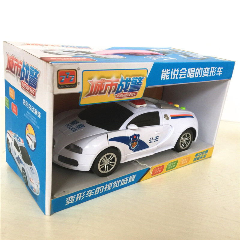 Electric Universal Wheel Police Car Storytelling Singing Autobots Robot Automatic Transformation Of CHILDREN'S Toy Car
