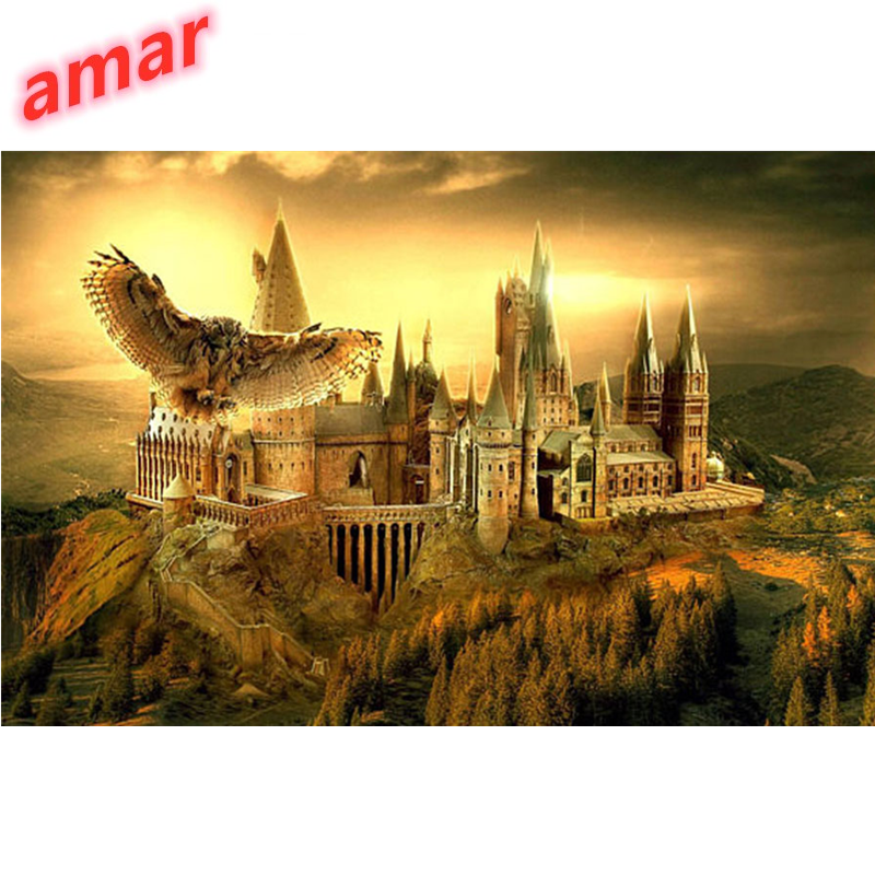 Fai da te 5d diamante ricamo mosaico Gufo castello di Scuola di Fantasia Top Movie Gufo Guidata Colorato Paesaggio di Arte Della Parete Della pittura diamante