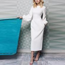 Lantern Sleeve Long O Neck Women Dress 2019 Elegant Empire Boho Maxi Dresses Spring Straight Pure Color Vestido