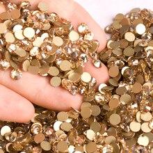 YANRUO Кристальные золотистые тени без горячей фиксации плоские Стразы SS20 4,6-4,8 мм Золотые камни бусины