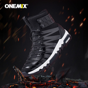 Image 5 - ONEMIX 2019 גברים מגפי נעלי ריצה לנשים סניקרס גבוהה למעלה חורף שלג מגפיים חיצוני עמיד למים הליכה טרקים נעל