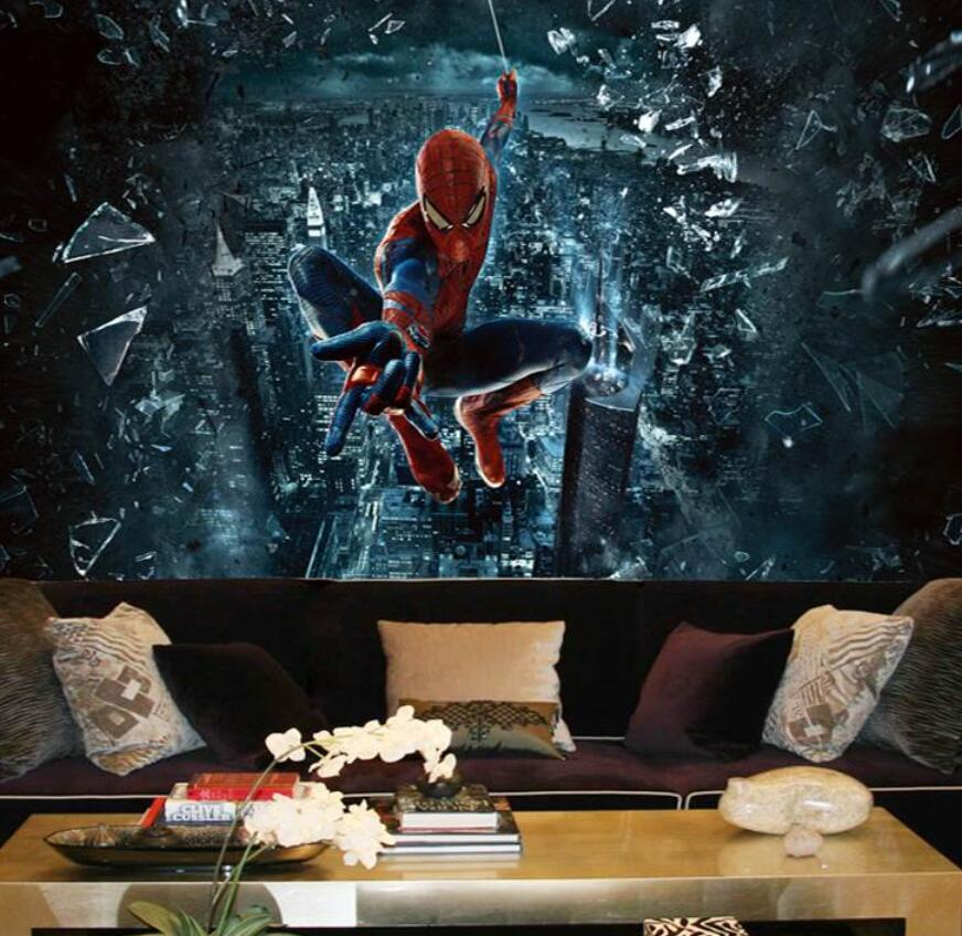 Custom Mural Wallpaper 3D Large Mural Spiderman Batman Iron Man Personality Wallpaper Mural Children Room Background Cartoon