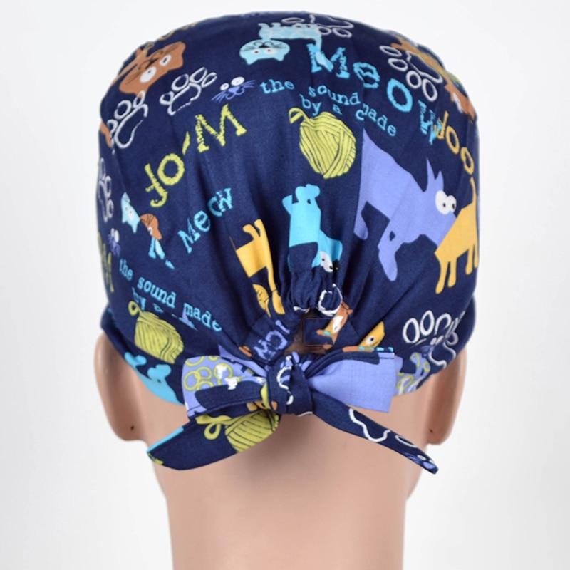 Casquette de gommage à motif pour dentiste, 100% coton, anti-poussière, casquette de travail, vétérinaire, pour femmes et hommes, collection livraison directe