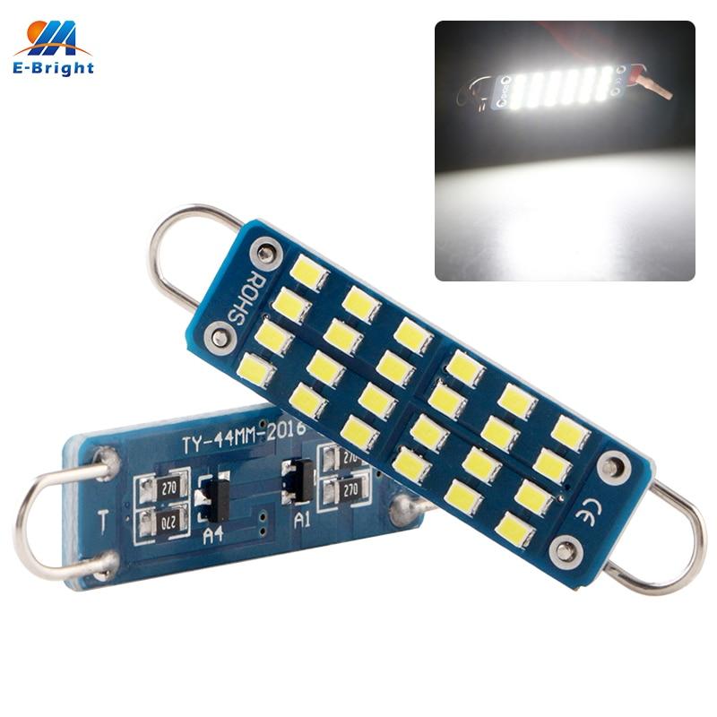 YM E-Bright 2PCS Festoon C5W Led Rigid Loop Dome Roof 44MM Map Light Car Lights Auto Bulbs 12V AC/DC 24 SMD Interior Lighting