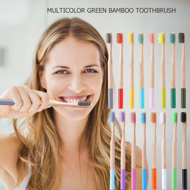 1Pcs Multi-color Natural Bamboo Toothbrush With Round Wood Handle Soft Bristle Adult Toothbrush Eco Friendly Bamboo Tooth Brush