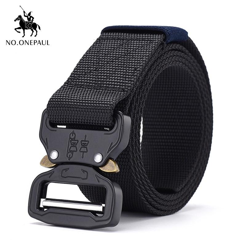NO.ONEPAUL Metal Multifunctional Buckle Outdoor Sports Hook New Tactical Belt Military High Quality Nylon Men's Training Belt