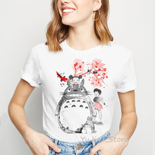 Japanese anime totoro t shirt women harajuku kawaii clothes spirited away tshirt femme summer top female Miyazaki Hayao T-shirt цена и фото