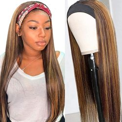Stranght Headband Wig None Lace Front Wigs Synthetic for Black Women Easy to Wear #4/27 Headband Wig 20-30inch