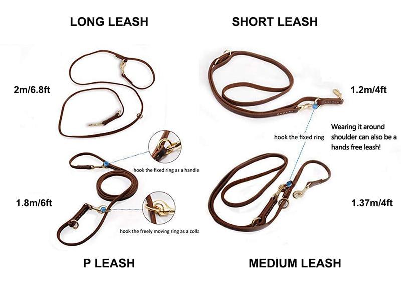 Image 3 - Benepaw Multifunctional Genuine Leather Dog Leash Hands Free Short Medium Long Training Pet Leash For Small Medium Large DogsLeashes   -