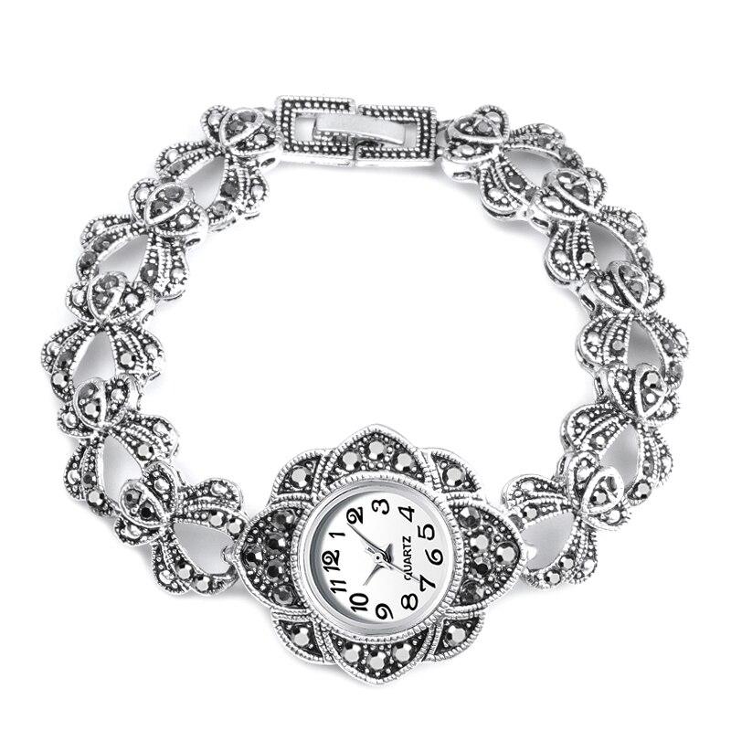 Luxury Antique Silver Wrist Watch Turkish Rhinestone Bracelet Quartz Watch For Women Vintage Watch Jewelry Montre Femme 2019