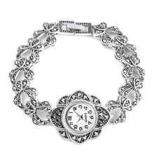 Luxury Antique Silver Wrist Watch Turkish Rhinestone Bracelet Quartz Wa