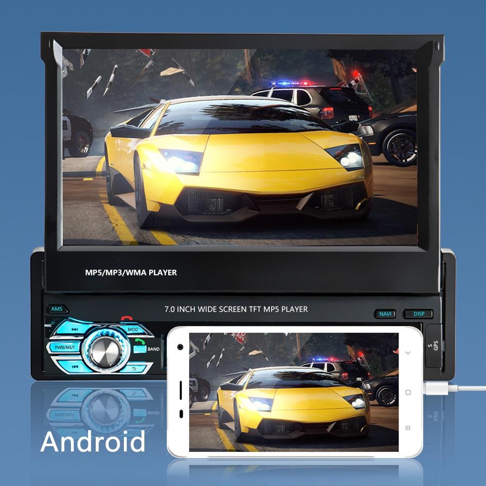 Podofo One din Car radio MP5 Player GPS Navigation Multimedia car audio stereo Bluetooth 7 HD Retractable Autoradio AUX-IN FM (6)