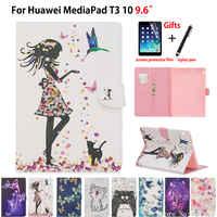 """Tablet etui na Huawei MediaPad T3 10 AGS-W09 AGS-L09 AGS-L03 9.6 """"pokrywa Funda moda dziewczyna kot etui z klapką stań skóry Shell Capa + prezent"""