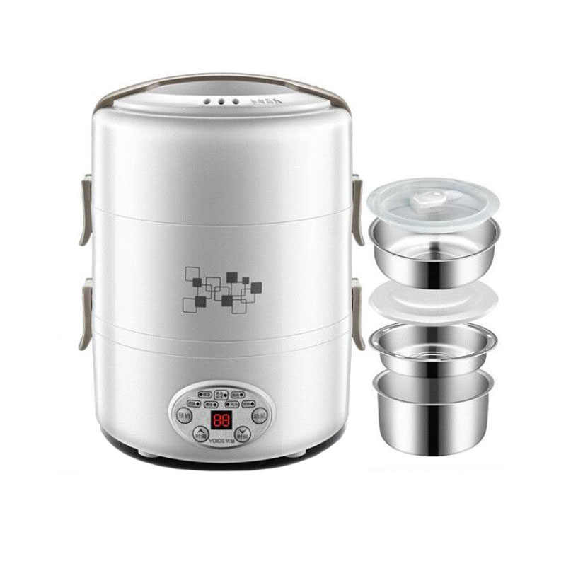 2L Intelligent Electric Lunch Box Portable Rice Cooker Stainless Steel Liner Pluggable Heating Insulation Cooking