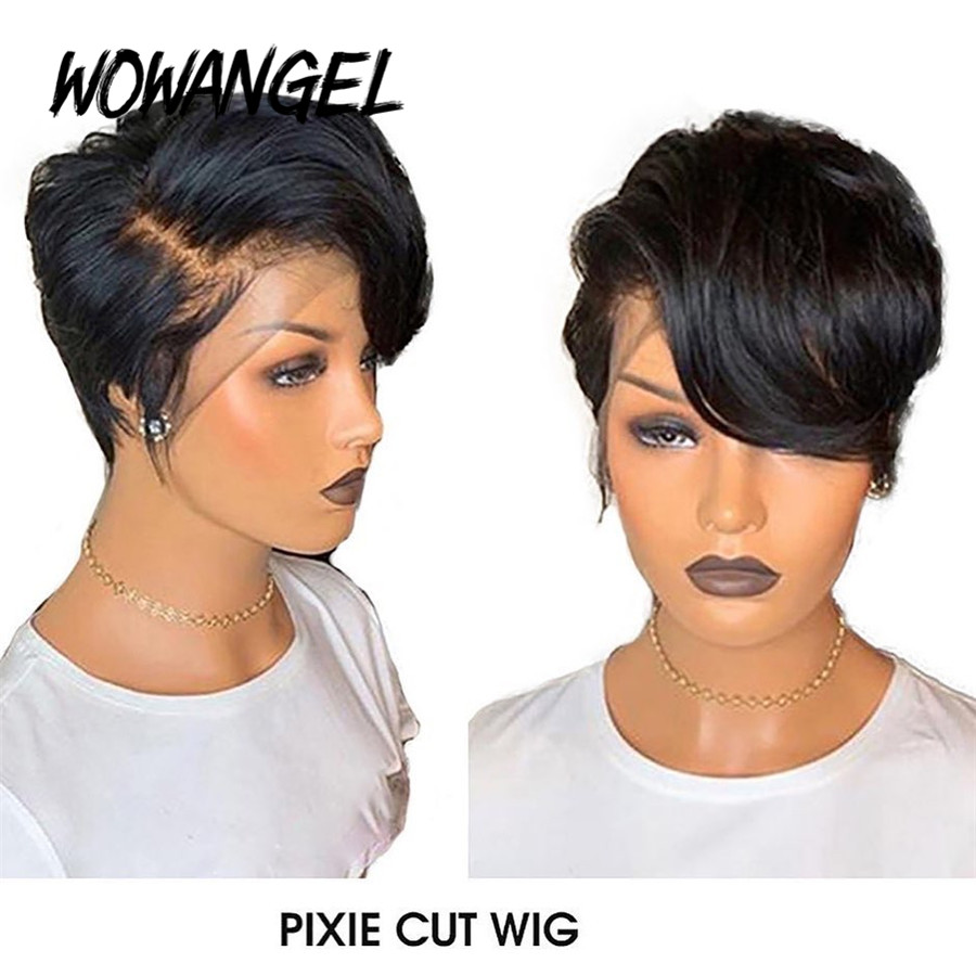 Wowangel Pixie Cut Wig Lace Front Human Hair Wigs 150% Remy Brazilian PrePlucked Hairline Bleached Knot Wavy Natural Black Color