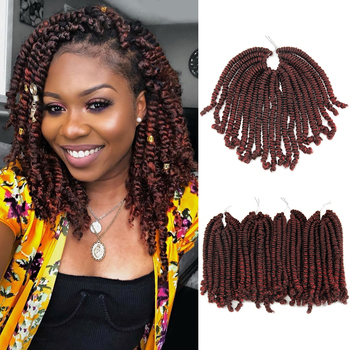 Ombre twist Hair Crochet braids  Passion Twist hair 8 inch 20Roots Black Red Color Synthetic Braiding spring - discount item  40% OFF Synthetic Hair