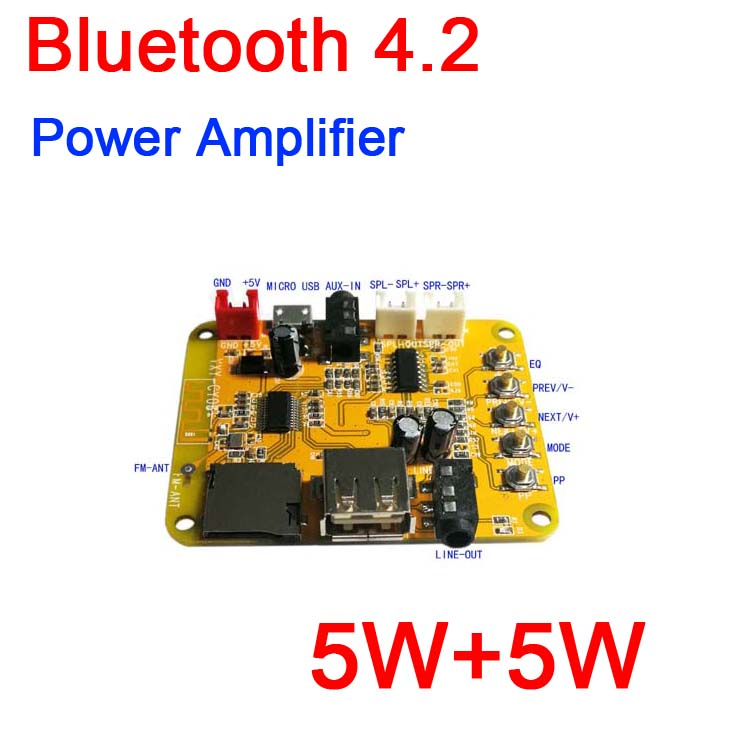 Bluetooth power amplifier MP3 //WMA// WAV audio decoder board USB Player AUX //EQ