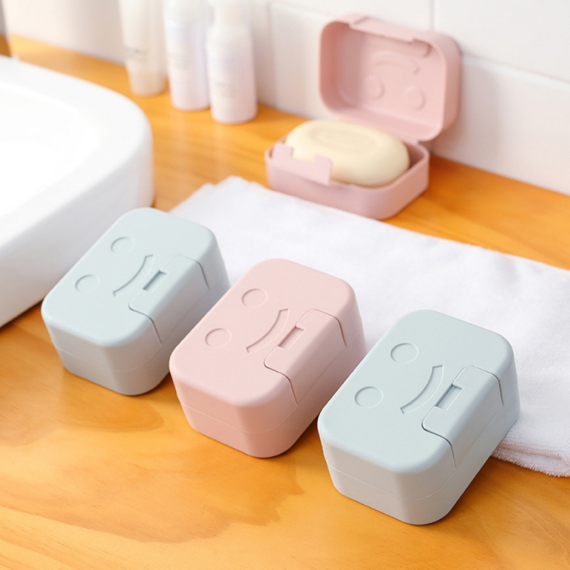 New Hot Portable Sealed Soap Box With Cover Soap Draining Dish Bathroom Shower Simple Soap Case For Outdoor Camping