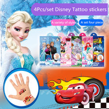Disney tatouage autocollants jouets 1 lot de 4 pièces Disney reine des neiges Sofia Mickey Mouse petit poney cendrillon sirène dessin animé autocollants jouets(China)