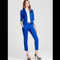Royal Blue Slim Fit Office Uniform Designs Womens Casual Business Suits Formal Work Wear Uniform Styles Elegant Pant Suits