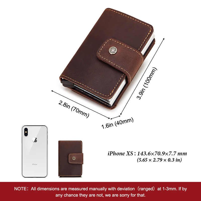 Kavis Automatische Kaarthouder Echt Leer Mannen Id Aluminium Anti-Demagnetiseren Card Portefeuilles Case Coin Houder Mannelijke Mini tas