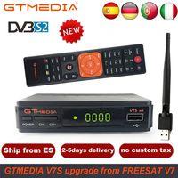 1 Year Spain Europe Cline Freesat V7 HD DVB S2 1080P Satellite TV Receiver+USB WIFI Portugal Spain Germany TV Tuner PK V8 Super