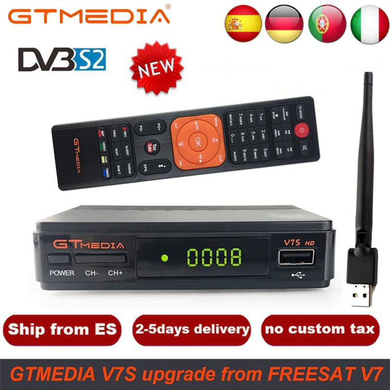 1-Year Spain Europe Cline Freesat V7 HD DVB-S2 1080P Satellite TV Receiver+USB WIFI Portugal Spain Germany TV Tuner PK V8 Super
