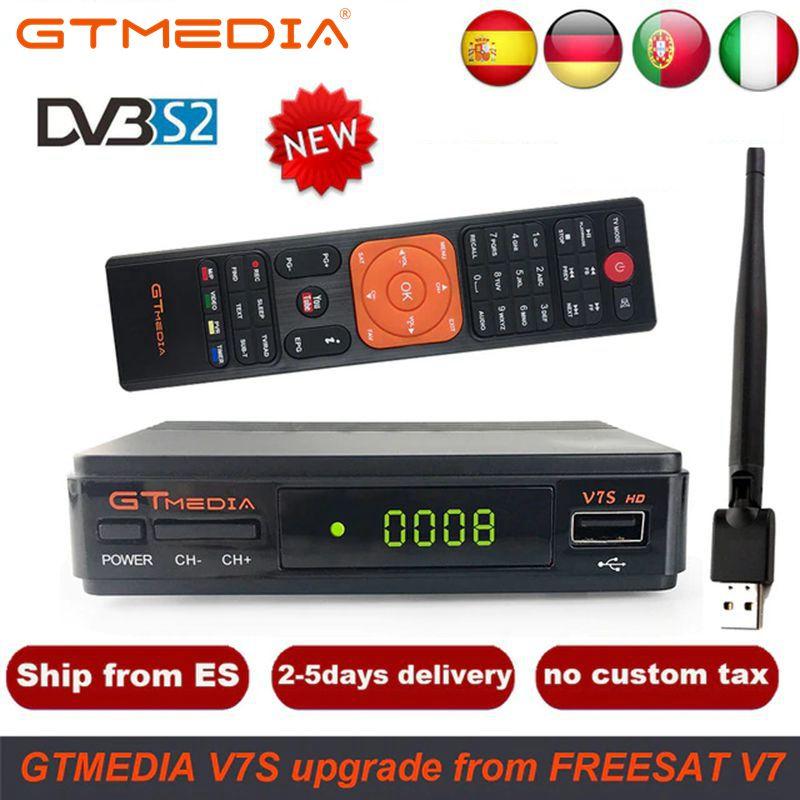 1 ano espanha europa cline freesat v7 hd DVB-S2 1080 p receptor de tv por satélite + usb wifi portugal espanha alemanha sintonizador de tv pk v8 super