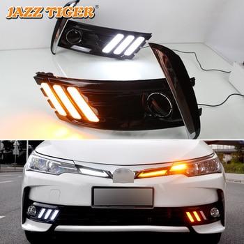 JAZZ TIGER 2PCS Yellow Turn Signal Function Waterproof 12V Car DRL Lamp LED Daytime Running Light For Toyota Corolla 2017 2018