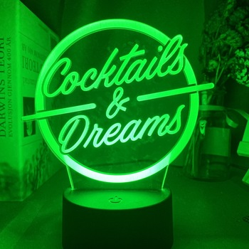 Cocktails & Dreams Led Night Light Sign for Bar Decoration Acrylic Laser Engraving Usb Battery Powered Table Lamp Color Changing classic cocktails