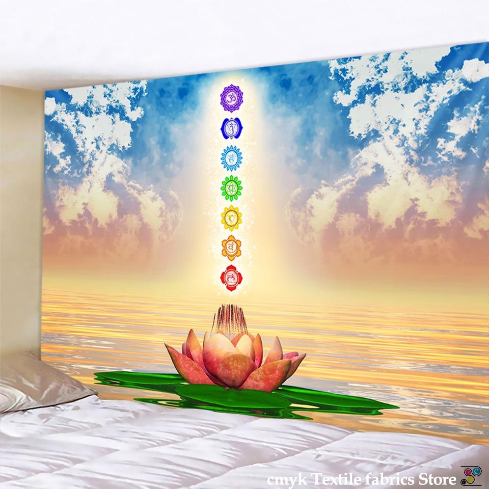 Статуя индийского Будды, медитация, 7 чакр, гобелен, настенная мандала, гобелены, настенная ткань, Psychedelic Коврик для йоги, декор в стиле бохо